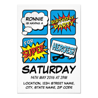 "Super Hero Comic Strip Personalized Kids Birthday 5"" X 7"" Invitation Card"