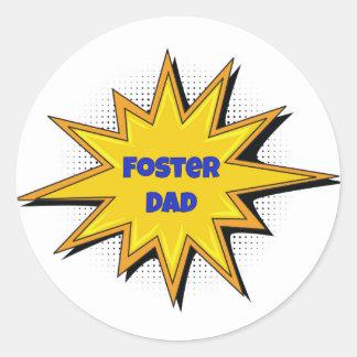 Super Hero Foster Dad Classic Round Sticker