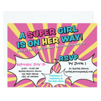 Super Hero Girl Baby Shower Invitation