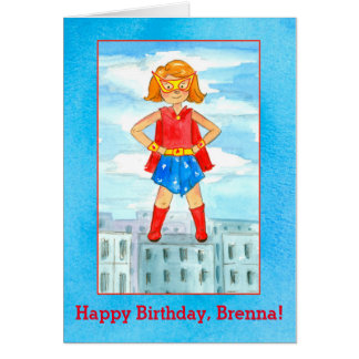 Super Hero Girl Happy Birthday Custom Name Card