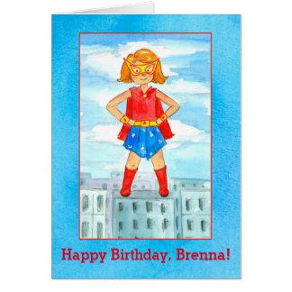 Super Hero Girl Happy Birthday Custom Name Card