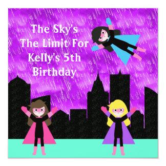 Super Hero Girls Bithday Party Card