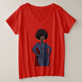 Super Hero Lady Plus Size V-Neck T-Shirt