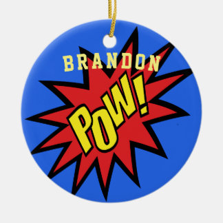 Super Hero Pow Custom Color Personalized Ceramic Ornament