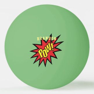 Super Hero Pow Custom Color Personalized Ping Pong Ball
