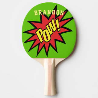 Super Hero Pow Custom Color Personalized Ping Pong Paddle
