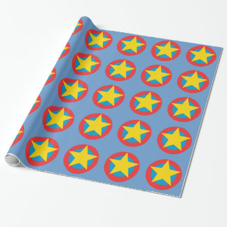 Super Hero Star Shield Wrapping Paper