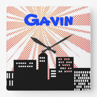 Super Hero Wall Clock Comic Book Themed Boys Decor