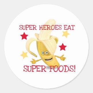 Super Heroes EAT Super Foods Round Sticker