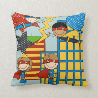 Super Heroes in the City Pilllow Throw Pillow