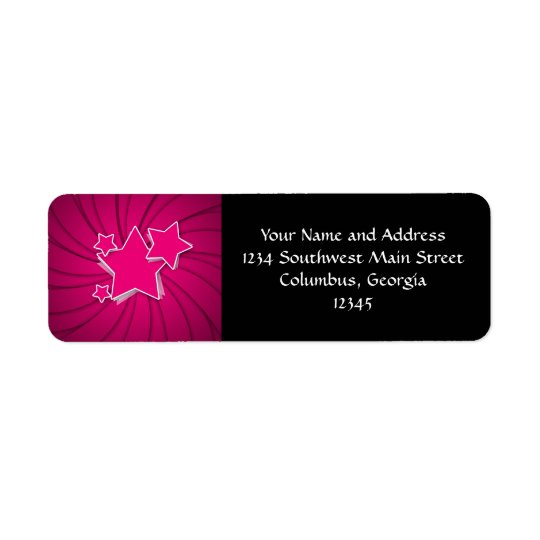 Super Hot Pink Stars and Swirl Background Return Address Label
