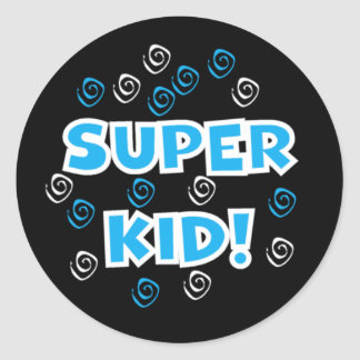 Super Kid Blue and Black Stickers