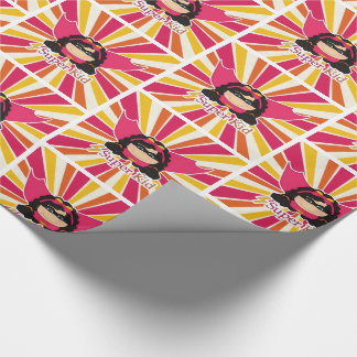 Super Kid Masked Girl in Pink and Yellow Wrapping Paper