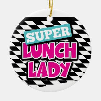 Super Lunch Lady Retro Round Ceramic Ornament