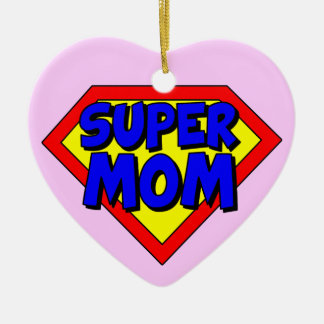 Super Mom Heart Shaped Ornament