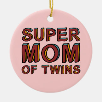 SUPER MOM OF TWINS Double-Sided CERAMIC ROUND CHRISTMAS ORNAMENT