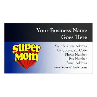 Super Mom Red/Yellow/Blue Superhero Mother's Day Pack Of Standard Business Cards