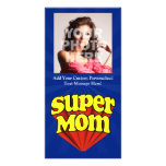 Super Mom Red/Yellow/Blue Superhero Mother's Day Photo Card