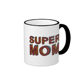 SUPER MOM RINGER COFFEE MUG