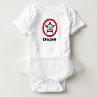Super Monkey Short-Sleeved Vest with Tutu Baby Bodysuit
