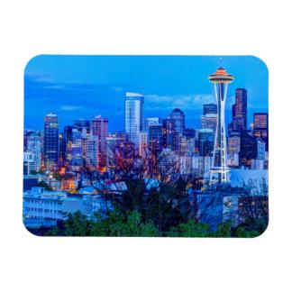 Super Moon rising near Seattle skyline Rectangular Photo Magnet