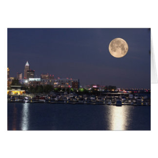 Super Moon Setting in Cleveland, Ohio Card