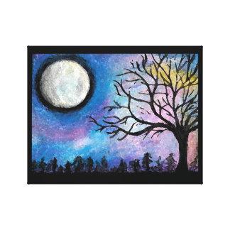 Super Moon & Tree Landscape Canvas Print
