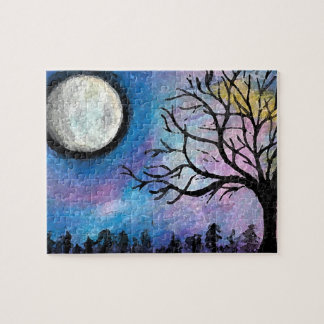 Super Moon & Tree Landscape Jigsaw Puzzle