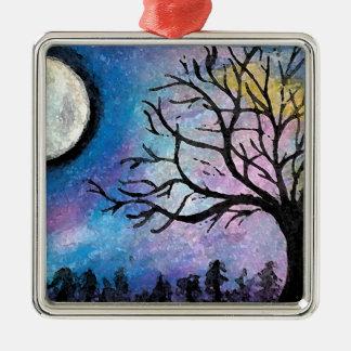 Super Moon & Tree Landscape Metal Ornament