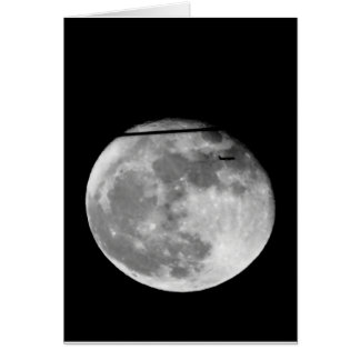 Super Moon with Airplane Passing/Customizable! Card