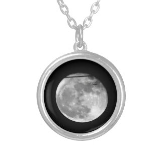Super Moon with Airplane Passing/Customizable! Silver Plated Necklace