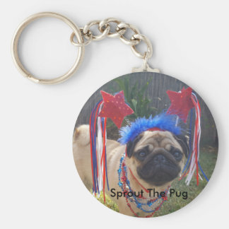 Super Patriotic Pug Keychain