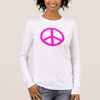 Super Pink Peace Symbol Personalized Long Sleeve T-Shirt