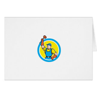 Super Plumber With Plunger Circle Cartoon Card