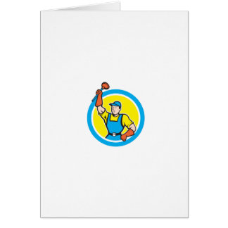 Super Plumber With Plunger Circle Cartoon Cards