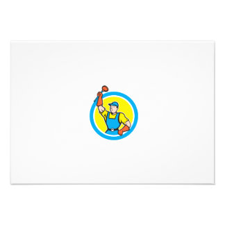 Super Plumber With Plunger Circle Cartoon Personalised Invite
