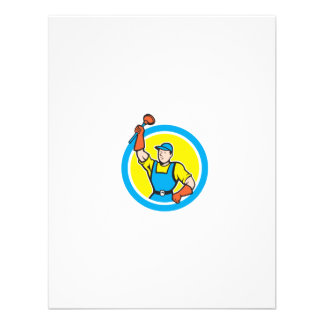 Super Plumber With Plunger Circle Cartoon Personalised Announcements