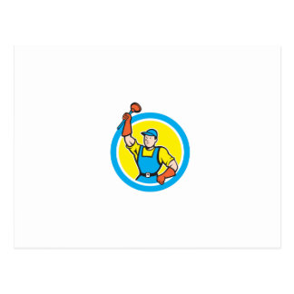 Super Plumber With Plunger Circle Cartoon Postcards