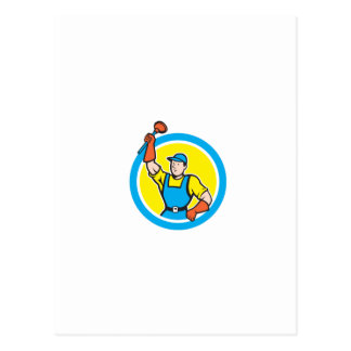 Super Plumber With Plunger Circle Cartoon Post Cards