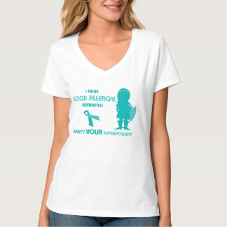 Super Power Woman Food Allergy Awareness Teal T-Shirt