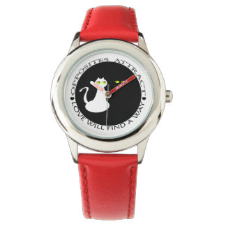 Super Red Black Cool Love Cats Girly Adorable Watch