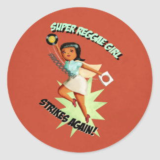 Super Reggae Girl Classic Round Sticker
