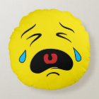 Super Sad Crying Face Emoji Round Pillow