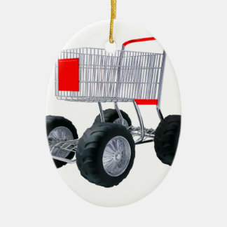 Super shopping cart ceramic ornament