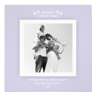 Super Simple Soft Lilac Christmas Holly Photo Card