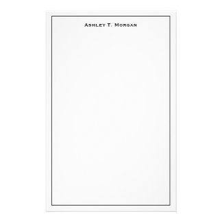 Super Simplicity Black White Personalized Stationery