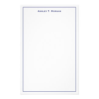 Super Simplicity Blue White Personalized Stationery