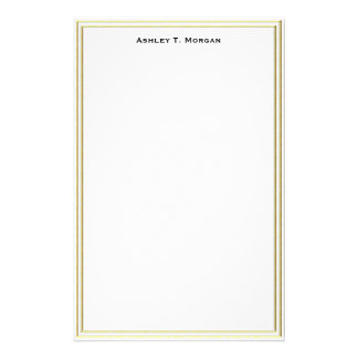 Super Simplicity Double Gold Frame Wt Personalized Stationery