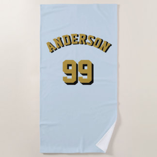 Super Sports Fan Fantasy League Name and Number Beach Towel