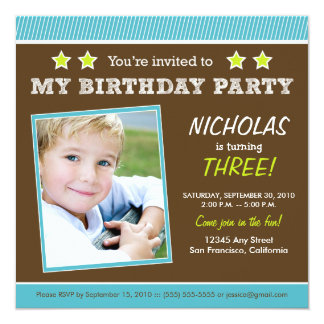 Super Star! Boy's Aqua Birthday Party Invitation